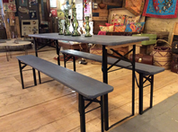 Trestle table and two benches, aged and finished with chalk paint